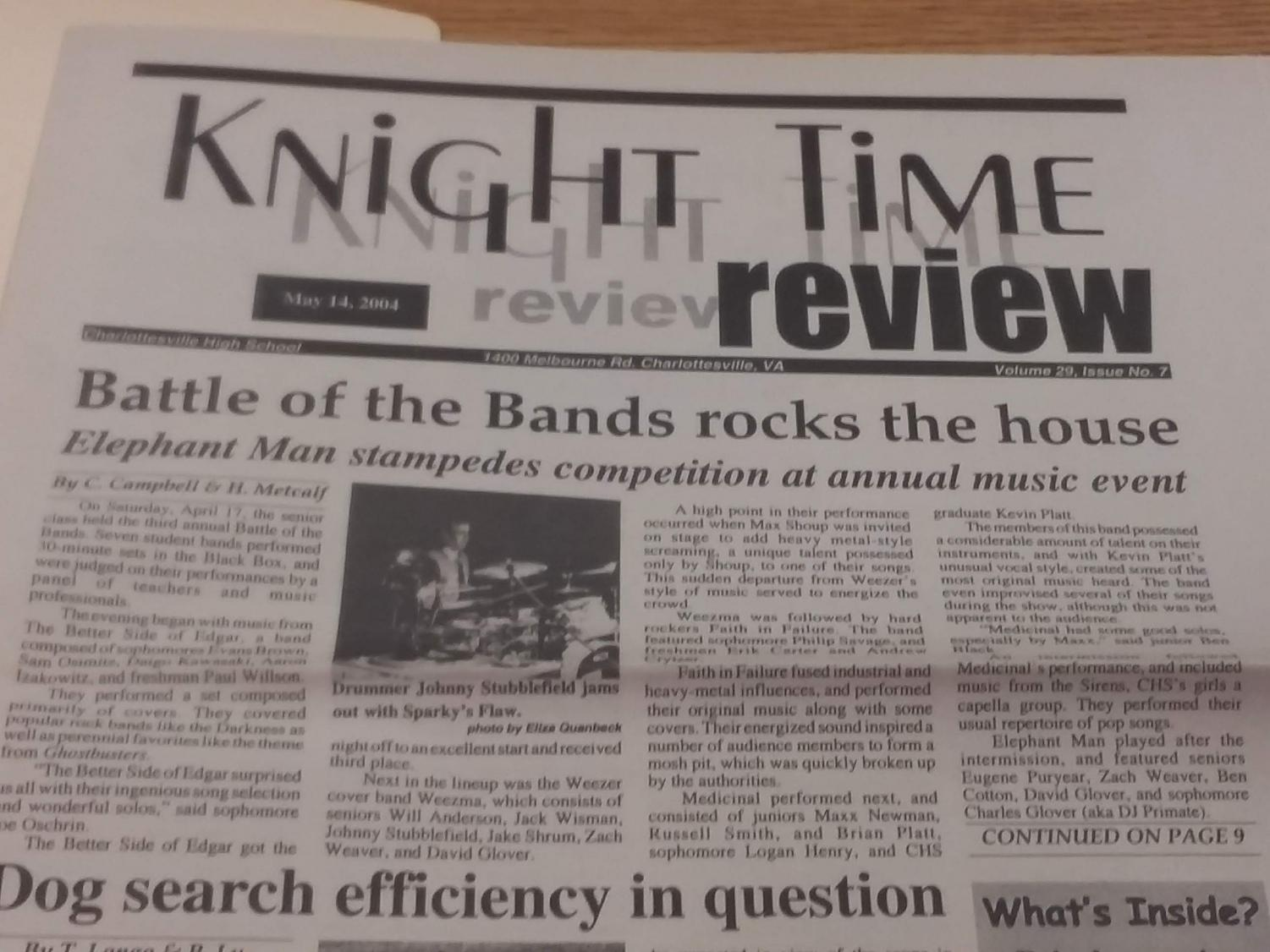 The Battle of the Bands was regularly a front page feature on KTR publications of the past.