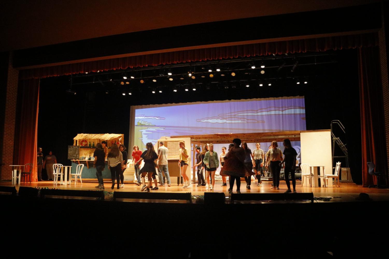 Mamma Mia ensemble rehearses.