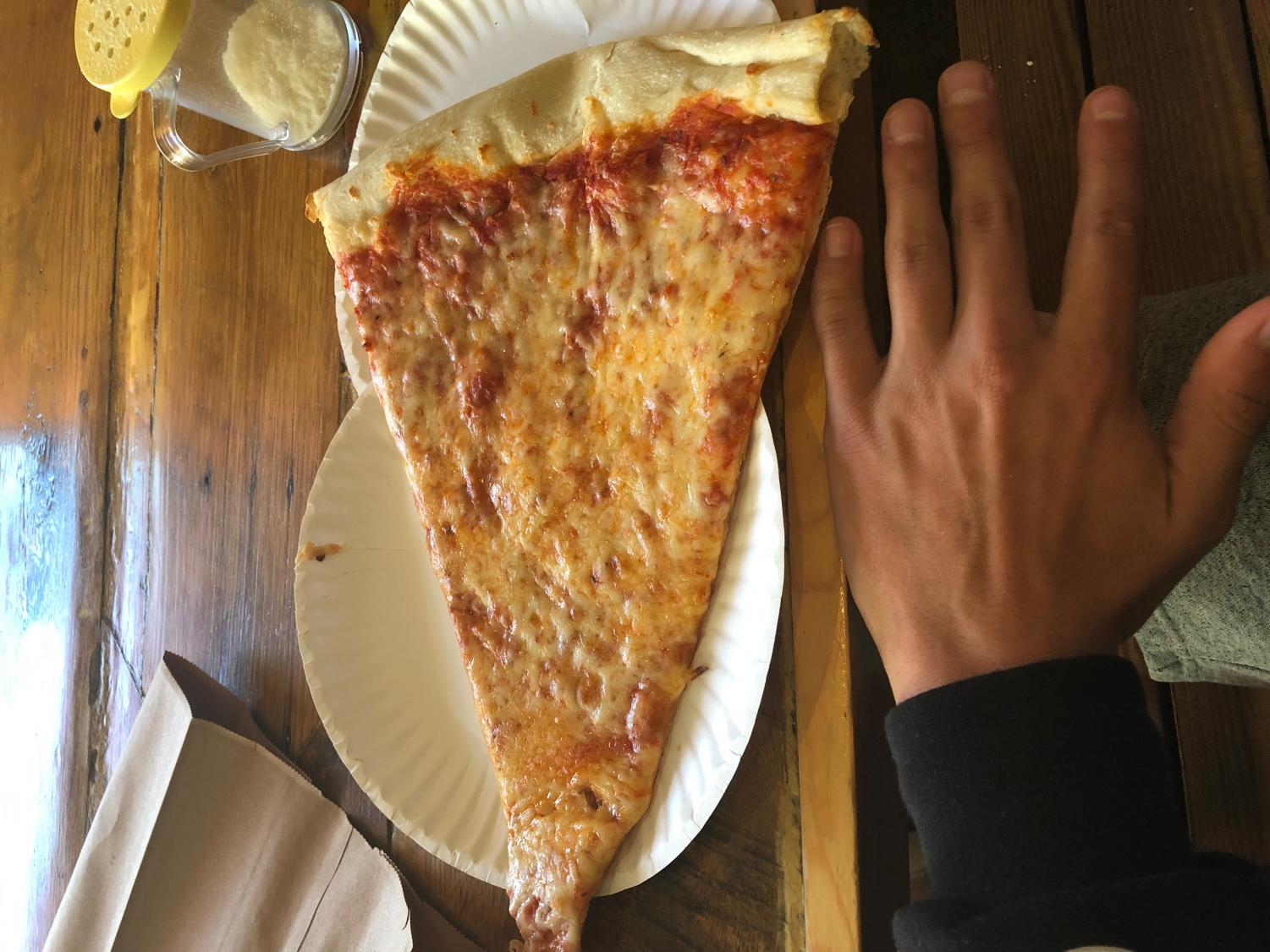 A slice of Benny de Luca's pizza in comparison with my hand.