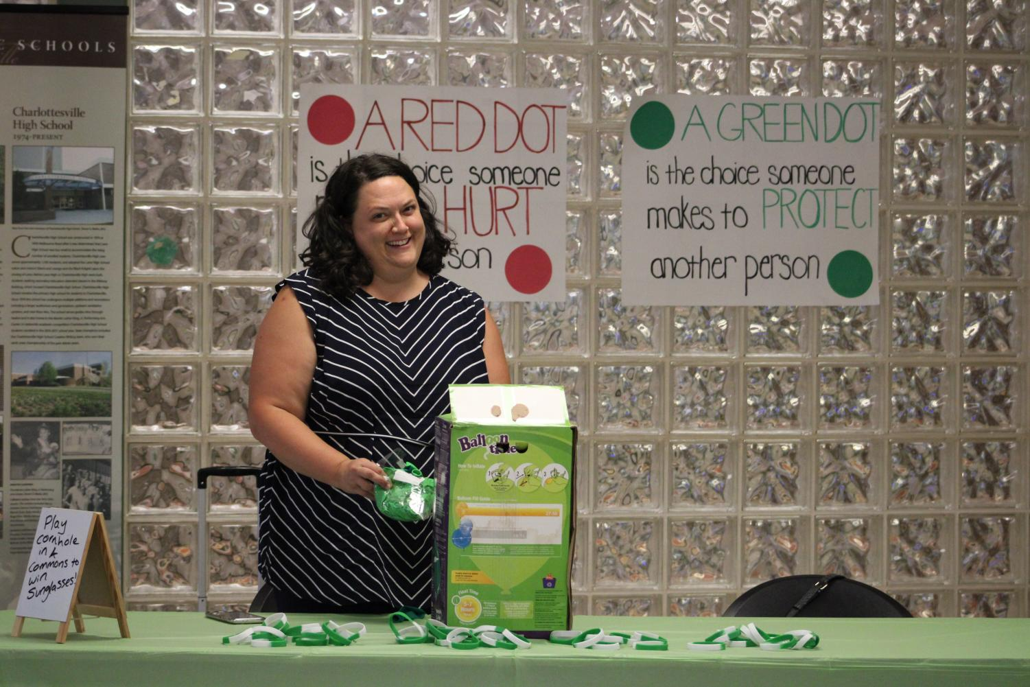 Laurie Jean at the Green Dot table.