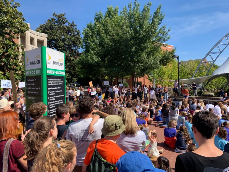 The Climate Change walkout at the free speech wall downtown