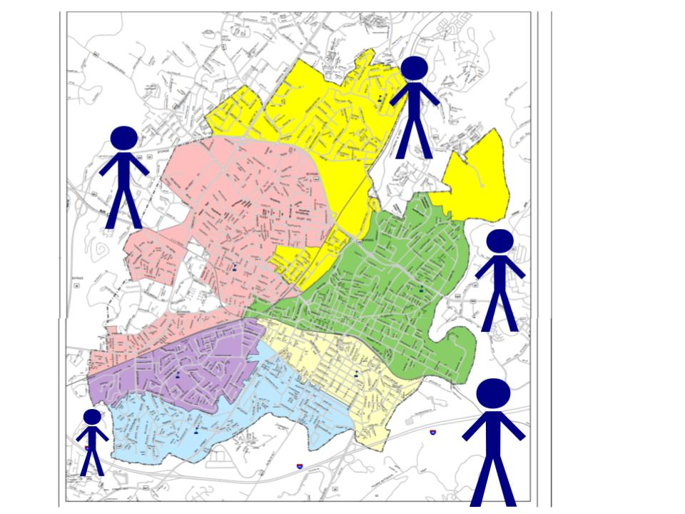 The district maps shows the lines and depicts stick figures who do not live within the lines.