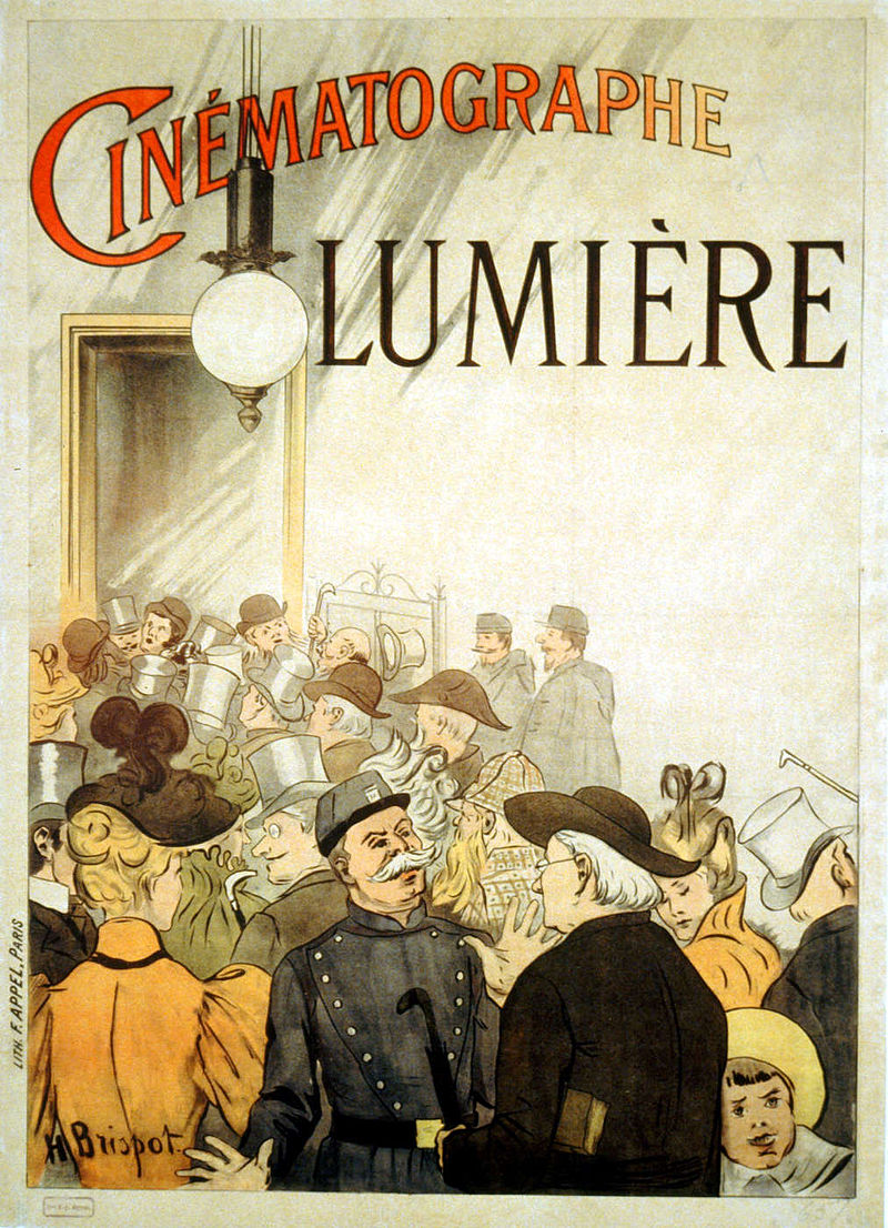 An early advertisement from 1895 advertising the Lumière brothers' cinematograph.