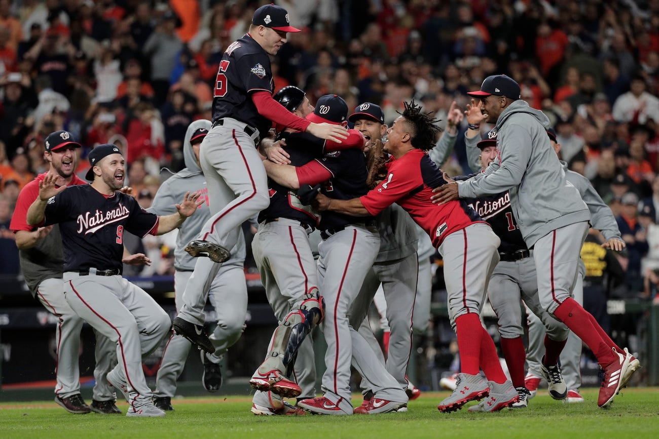 Nationals celebrate World Series win with dog pile in Houston.