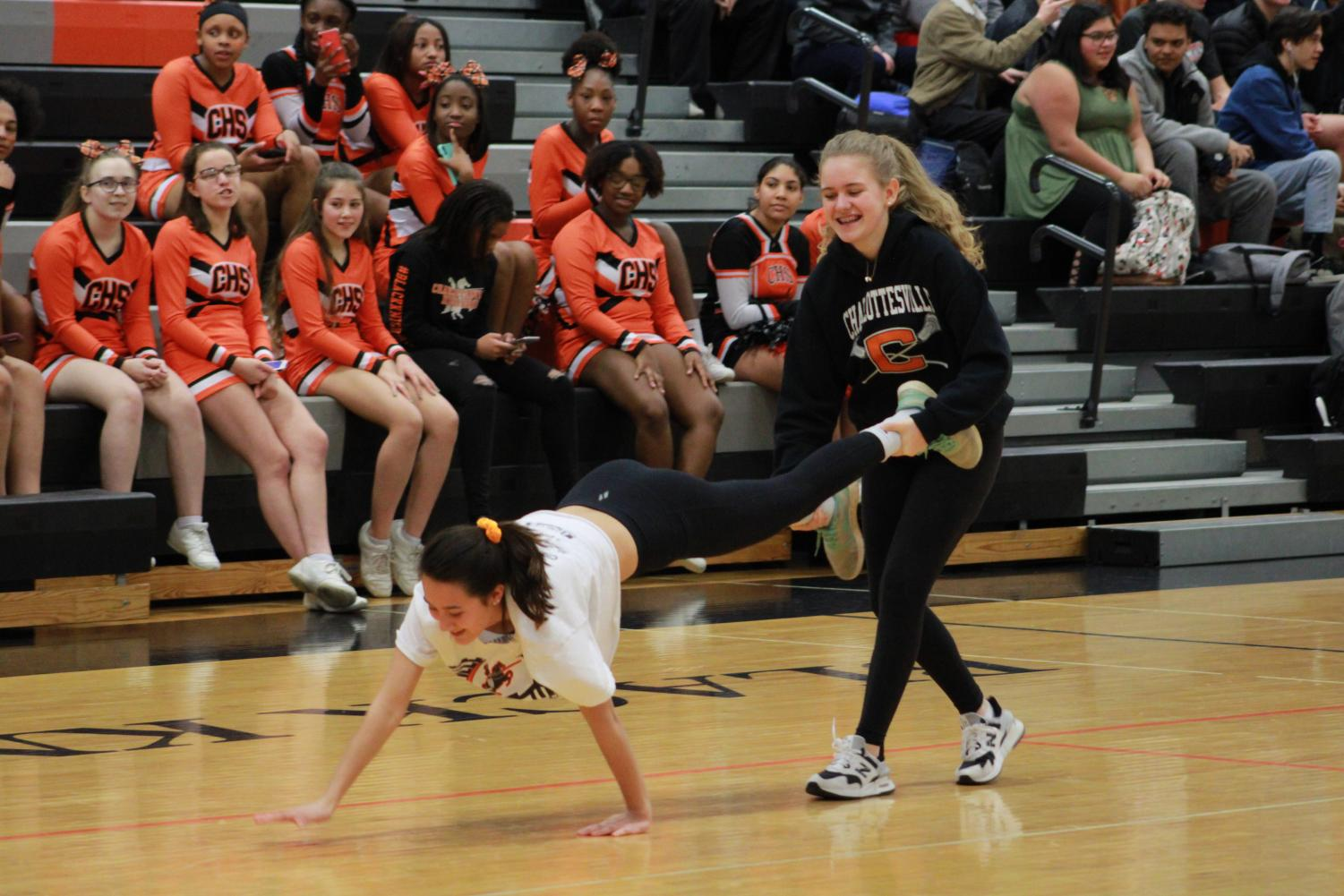 Isabelle Buckner and Imogen Armstrong compete in one of the annual pep rally activities.