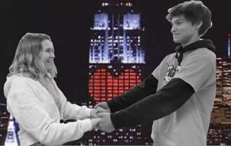 Stella Gunn and Lucas Simpson recreate the famous scene in An Affair to Remember where Terry McKay and Nickie Ferrante promise to meet on the Empire State Building.