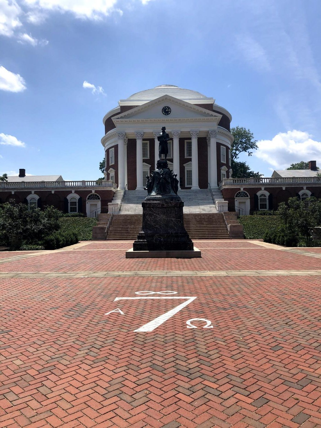 The Rotunda at U.Va. before students returned to Grounds.