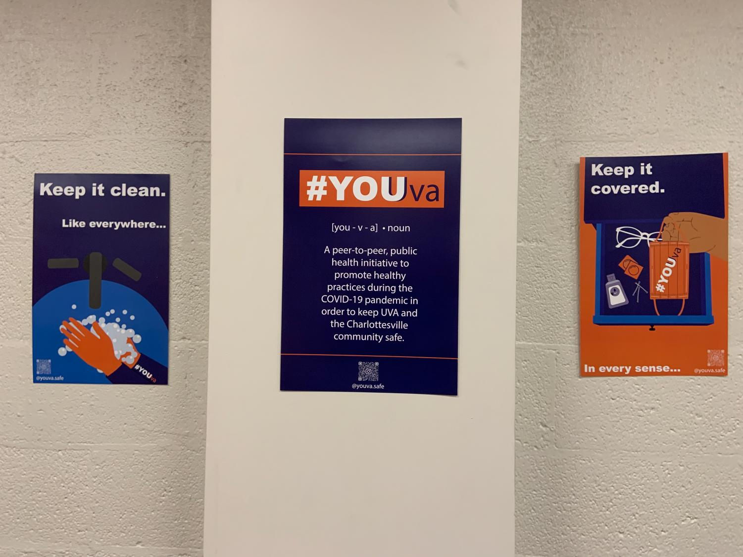 Signs at the University of Virginia to promote a healthy, Covid-friendly environment.