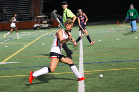 Junior Aly Seidman pictured as she takes a shot on goal in the game vs. Orange County.